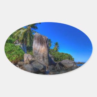 Coastal Rock Formation Nature Oval Sticker