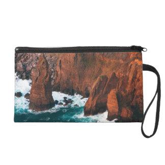 Coastal rock formations wristlet purse