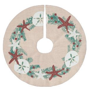 Beach Themed Christmas Ornaments.Coastal Rustic Beach Christmas Holiday Starfish Brushed Polyester Tree Skirt