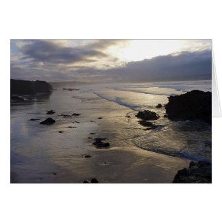 Coastal scene at dusk greeting card