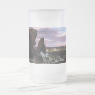Coastal scene by Frederick Edwin Church Frosted Glass Beer Mug