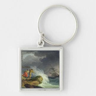 Coastal Scene in a Storm, 1782 Keychain
