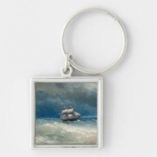 Coastal scene with Stormy Waters  Ivan Aivazovsky Keychain