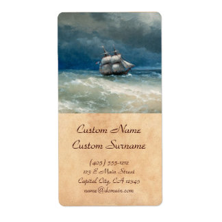 Coastal scene with Stormy Waters  Ivan Aivazovsky Shipping Label