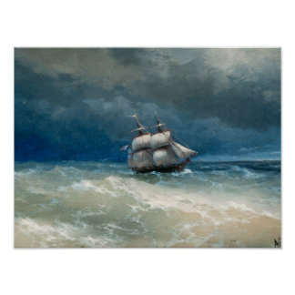 Coastal scene with Stormy Waters  Ivan Aivazovsky Poster