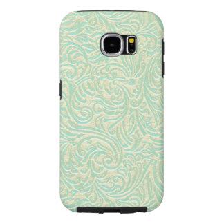 Coastal Sea Green Vintage French Scrollwork Samsung Galaxy S6 Case
