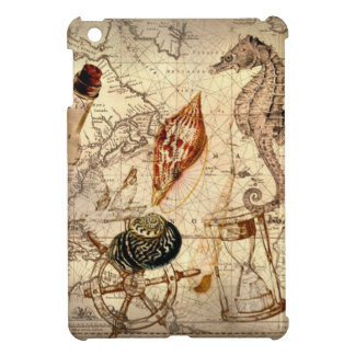Coastal seahorse seashell Nautical Map Cover For The iPad Mini