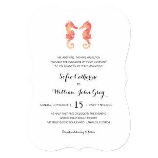Coastal Seahorse Watercolor | Wedding Card