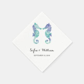 Coastal Seahorse Watercolor | Wedding Napkin