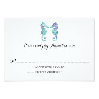 Coastal Seahorse Watercolor | Wedding RSVP Card