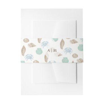 Coastal Seashells Personalized Invitation Belly Band