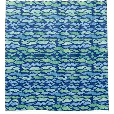 Beach Themed Coastal Seashore Beach Ocean Modern Wave Pattern Shower Curtain