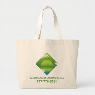 coastal sharks landscaping large tote bag
