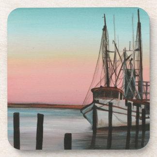 Coastal Shrimping Coaster- Orignal Artwork Beverage Coaster