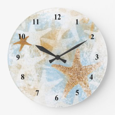 Beach Themed Coastal Starfish Beach Theme Wall Clock