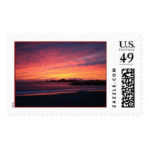 coastal sunset postage stamp