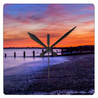 Coastal Sunset Square Wall Clock