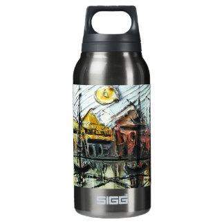 Coastal town insulated water bottle
