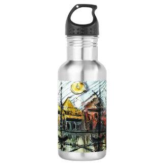 Coastal town stainless steel water bottle