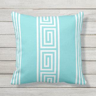 coastal turquoise and white greek key stripes outdoor pillow
