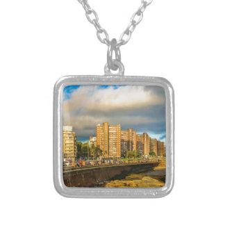 Coastal Urban Scene, Montevideo, Uruguay Silver Plated Necklace
