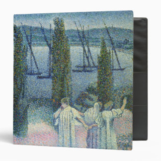 Coastal View with Cypress Trees, 1896 3 Ring Binder