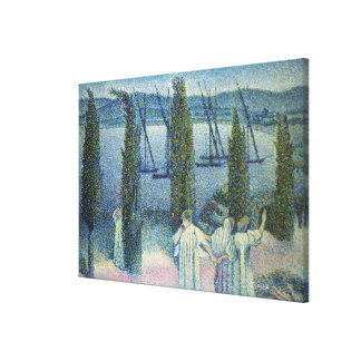 Coastal View with Cypress Trees, 1896 Canvas Print