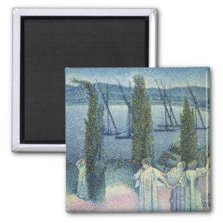 Coastal View with Cypress Trees, 1896 Magnet