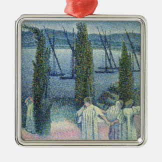 Coastal View with Cypress Trees, 1896 Metal Ornament
