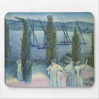 Coastal View with Cypress Trees, 1896 Mouse Pad