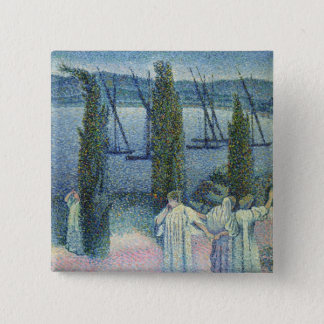 Coastal View with Cypress Trees, 1896 Pinback Button