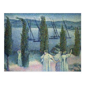 Coastal View with Cypress Trees, 1896 Postcard