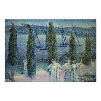 Coastal View with Cypress Trees, 1896 Poster