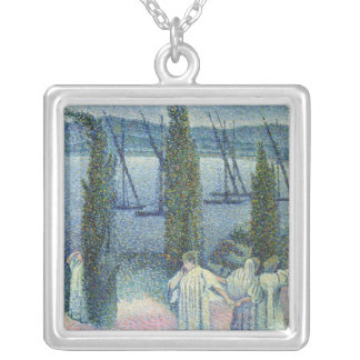 Coastal View with Cypress Trees, 1896 Silver Plated Necklace