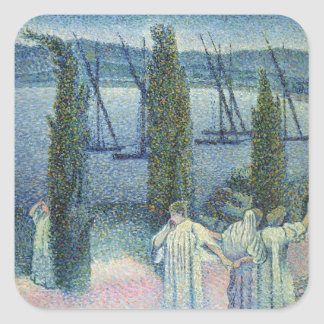 Coastal View with Cypress Trees, 1896 Square Sticker