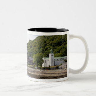 Coastal view with historic buildings, Oban, Two-Tone Coffee Mug
