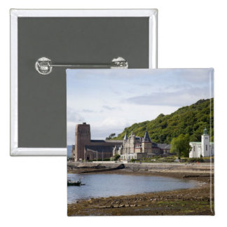 Coastal view with historic buildings, Oban, Pinback Button