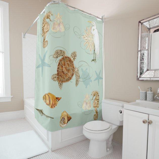 Coastal Waterways Egret Seahorse Sea Turtle Shells Shower Curtain | Zazzle