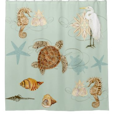 Beach Themed Coastal Waterways Egret Seahorse Sea Turtle Shells Shower Curtain
