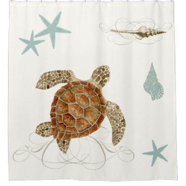 Beach Themed Coastal Waterways Sea Life Turtle Starfish Shells Shower Curtain