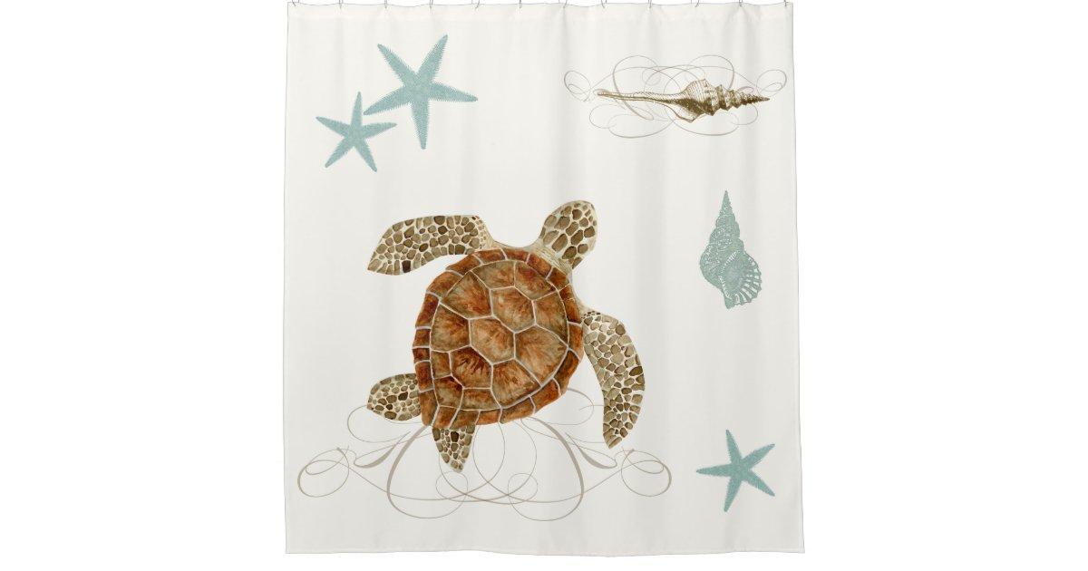 Coastal Waterways Sea Life Turtle Starfish Shells Shower