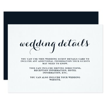 Beach Themed Coastal Wedding Blue and White Guest Details Card