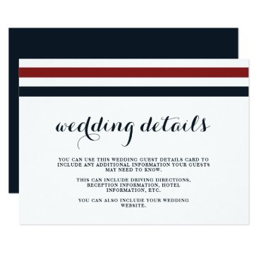 Beach Themed Coastal Wedding Blue Red and White Guest Details Card