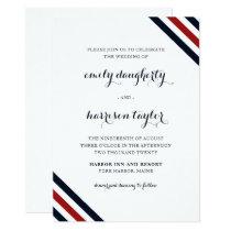 Coastal Wedding Nautical Stripes Red White Blue Invitation