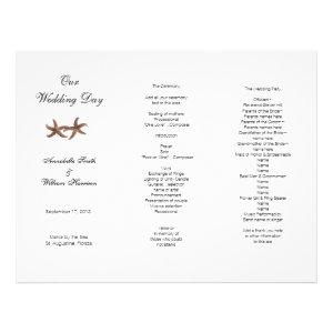 Coastal Wedding Tri-Fold Starfish Couple Program Custom Letterhead