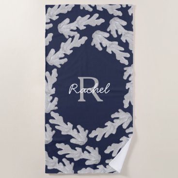 Beach Themed Coastal White Corals & Name in Script Beach Towel