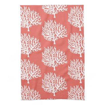 Beach Themed Coastal White Sea Coral & Coral Pink Hand Towel