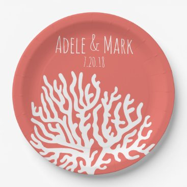 Beach Themed Coastal White Sea Coral Coral Pink Wedding Paper Plate