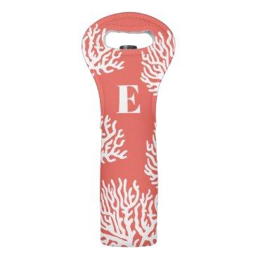 Coastal White Sea Coral & Coral Pink Wine Bag
