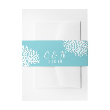 Beach Themed Coastal White Sea Coral Couple's Initials Wedding Invitation Belly Band